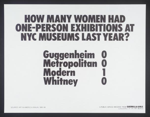 How Many Women Artists Had One-Person Exhibitions In NYC Art Museums Last Year? 1985 by Guerrilla Girls