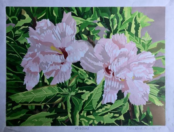 Hibiscus-linocut-RosalindForster